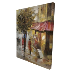 Canvas 36 x 48 - 3D - Abstract street with passers