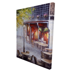 Canvas 36 x 48 - 3D - Outdoor restaurant by a nice day
