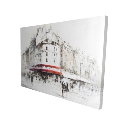 Canvas 36 x 48 - 3D - White street with red accents
