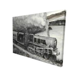 Canvas 36 x 48 - 3D - Vintage passenger locomotive