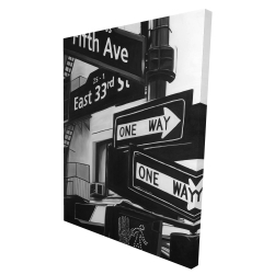 Canvas 36 x 48 - 3D - New york city signs in front of an appartment