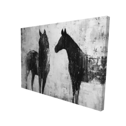 Canvas 36 x 48 - 3D - Black and white horses
