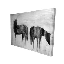 Canvas 36 x 48 - 3D - Horses silhouettes in the mist