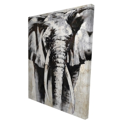 Canvas 36 x 48 - 3D - Grayscale elephant