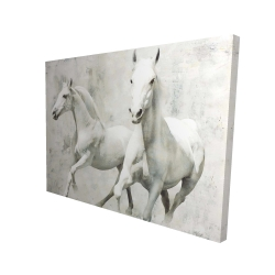 Canvas 36 x 48 - 3D - Two white horse running