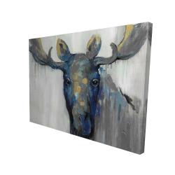 Canvas 36 x 48 - 3D - Blue moose