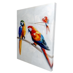 Canvas 36 x 48 - 3D - Parrots on a branch