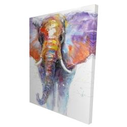 Canvas 36 x 48 - 3D - Colorful walking elephant