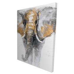 Canvas 36 x 48 - 3D - Golden elephant
