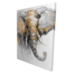 Canvas 36 x 48 - 3D - Beautiful golden elephant