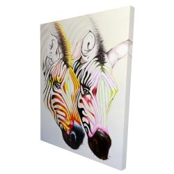 Canvas 36 x 48 - 3D - Couple of colorful zebras