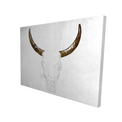Canvas 36 x 48 - 3D - Bull skull with brown horns