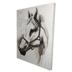 Canvas 36 x 48 - 3D - Flicka the white horse