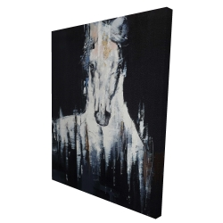 Canvas 36 x 48 - 3D - Abstract white horse on black background