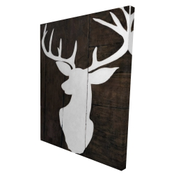 Canvas 36 x 48 - 3D - Silhouette of a deer on wood