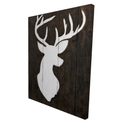 Canvas 36 x 48 - 3D - White silhouette of a deer on wood