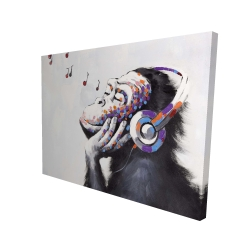 Canvas 36 x 48 - 3D - Monkey listening music