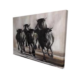 Canvas 36 x 48 - 3D - Group of running bulls