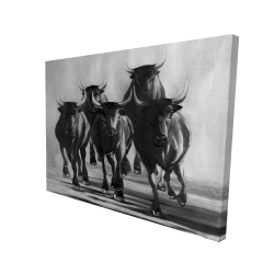 Canvas 36 x 48 - 3D - Group of bulls at galops