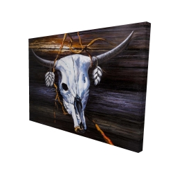Canvas 36 x 48 - 3D - Hanged skull on a wood wall