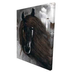Canvas 36 x 48 - 3D - Dark brown horse