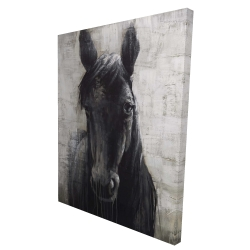 Canvas 36 x 48 - 3D - Black horse