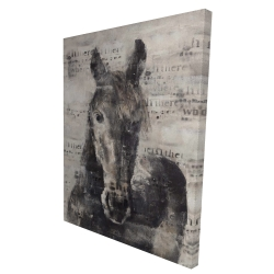 Canvas 36 x 48 - 3D - Abstract horse with typography