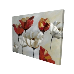 Canvas 36 x 48 - 3D - Abstract red and white flowers