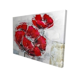 Canvas 36 x 48 - 3D - Abstract and texturized red flowers
