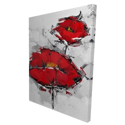 Canvas 36 x 48 - 3D - Texturized red poppies