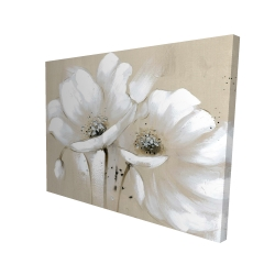 Canvas 36 x 48 - 3D - White abstract wild flowers