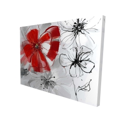Canvas 36 x 48 - 3D - Red & gray flowers