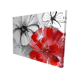 Canvas 36 x 48 - 3D - Red & white flowers sketch