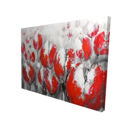 Canvas 36 x 48 - 3D - Abstract red tulips