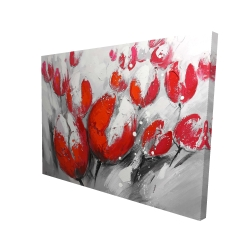 Canvas 36 x 48 - 3D - Red tulips