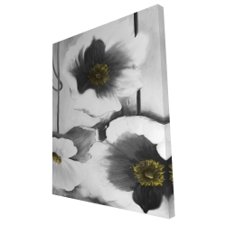 Canvas 36 x 48 - 3D - Black and white flowers