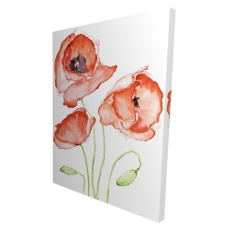 Canvas 36 x 48 - 3D - Watercolor poppies