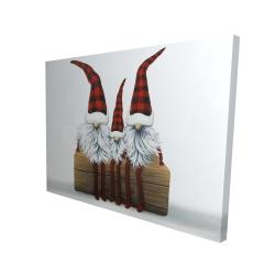 Canvas 36 x 48 - 3D - Three christmas gnomes