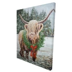 Canvas 36 x 48 - 3D - Highland christmas cow