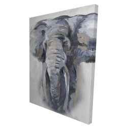 Canvas 36 x 48 - 3D - Pastel blue elephant