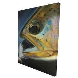 Canvas 36 x 48 - 3D - Golden trout with fly fishing flie