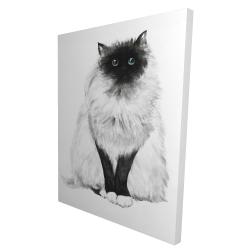 Canvas 36 x 48 - 3D - Blue eyes fluffy siamese cat