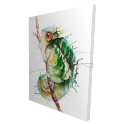 Canvas 36 x 48 - 3D - Watercolor chameleon