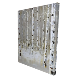 Canvas 36 x 48 - 3D - Birch forest by winter