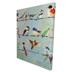 Canvas 36 x 48 - 3D - Small abstract colorful birds