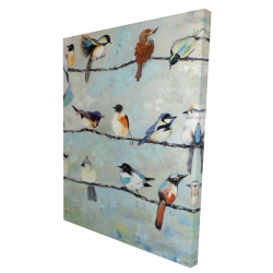 Canvas 36 x 48 - 3D - Small colorful birds
