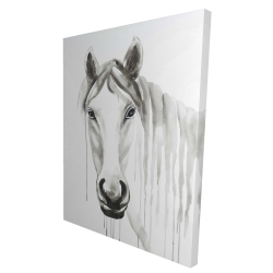 Canvas 36 x 48 - 3D - Solitary white horse