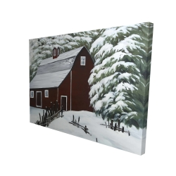 Canvas 36 x 48 - 3D - Red barn in snow