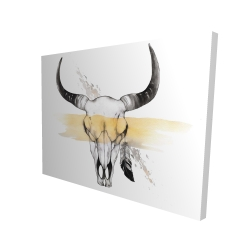 Canvas 36 x 48 - 3D - Cow skull with feather