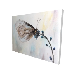 Canvas 36 x 48 - 3D - Butterfly on blue flowers